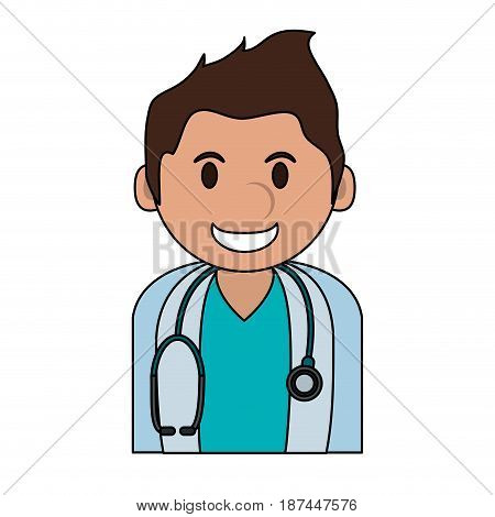 color image cartoon half body young male veterinarian with stethoscope vector illustration