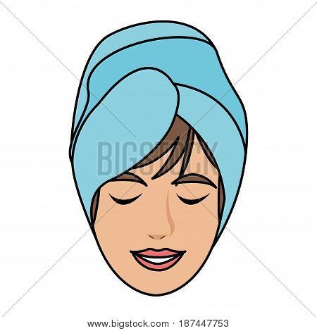 color image cartoon face woman with towel in head vector illustration