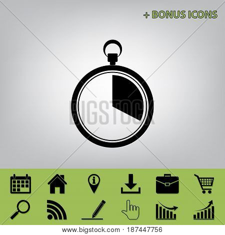 The 20 seconds, minutes stopwatch sign. Vector. Black icon at gray background with bonus icons at celery ones