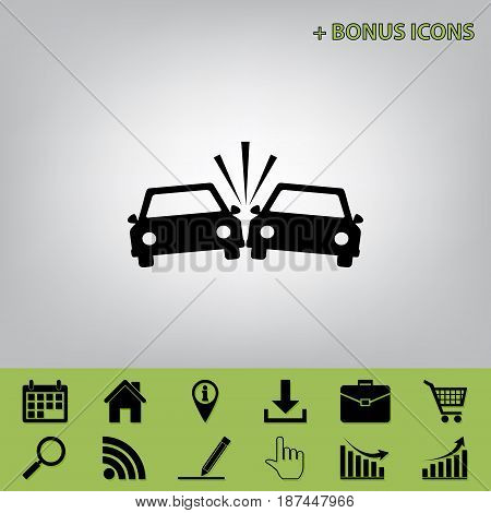 Crashed Cars sign. Vector. Black icon at gray background with bonus icons at celery ones