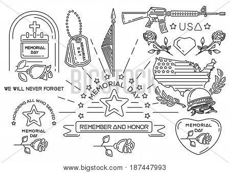 Line icons set for Memorial Day in USA. Banners icons and greeting inscriptions for Federal holiday. Honoring all who served. We will never forget. Remember and Honor. Vector illustration