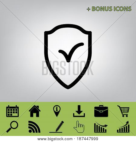 Shield sign as protection and insurance symbol. Vector. Black icon at gray background with bonus icons at celery ones