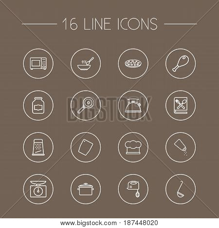 Set Of 16 Cooking Outline Icons Set.Collection Of Chicken Leg, Grater, Skillet And Other Elements.