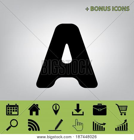 Letter A sign design template element. Vector. Black icon at gray background with bonus icons at celery ones