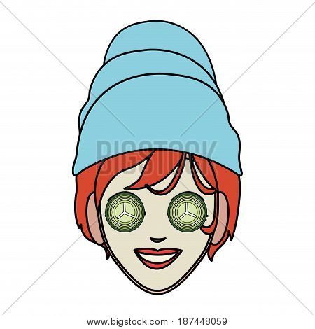 color image cartoon face woman with towel in head and mask with cucumbers vector illustration