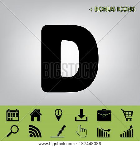 Letter D sign design template element. Vector. Black icon at gray background with bonus icons at celery ones
