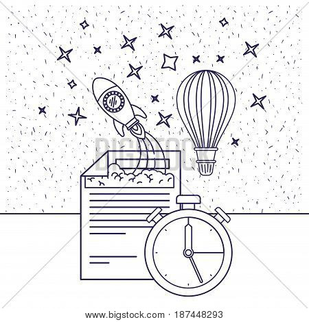 white background with blue silhouette of space rocket and hot air balloon and clock vector illustration