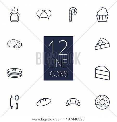 Set Of 12  Outline Icons Set.Collection Of Pizza, Cupcake, Croissant And Other Elements.