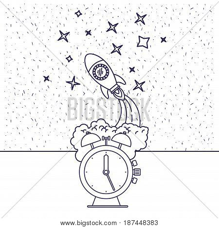 white background with blue silhouette of space rocket and clock vector illustration