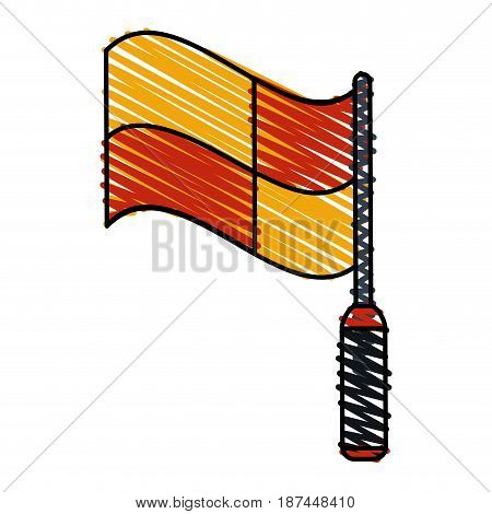 color crayon stripe cartoon red and yellow checkered flag vector illustration
