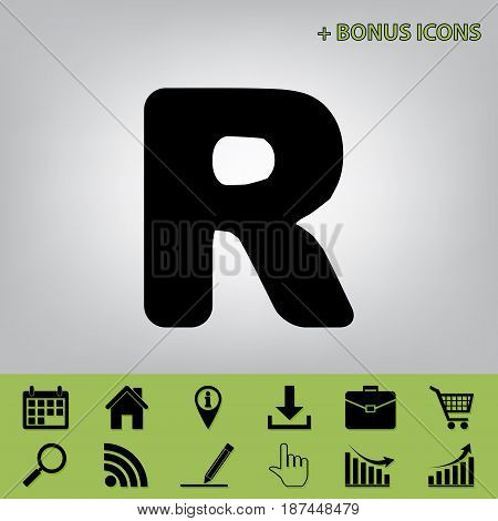 Letter R sign design template element. Vector. Black icon at gray background with bonus icons at celery ones