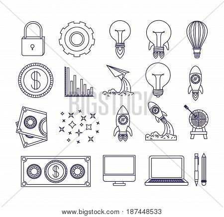 white background with blue silhouette of icons work innovation vector illustration