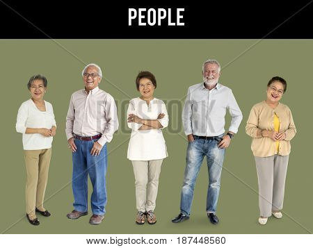 Group of senior adult people smiling and standing in a row