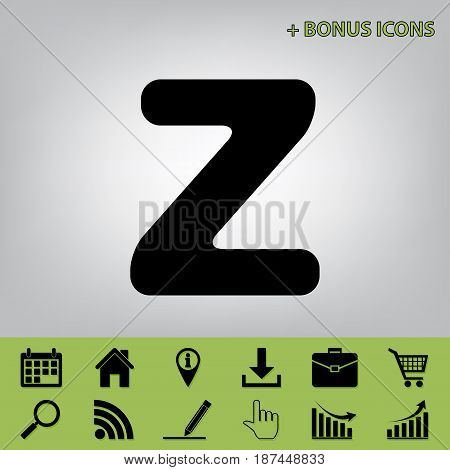 Letter Z sign design template element. Vector. Black icon at gray background with bonus icons at celery ones