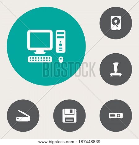 Set Of 6 Laptop Icons Set.Collection Of Diskette, Hard Disk, Photocopy And Other Elements.