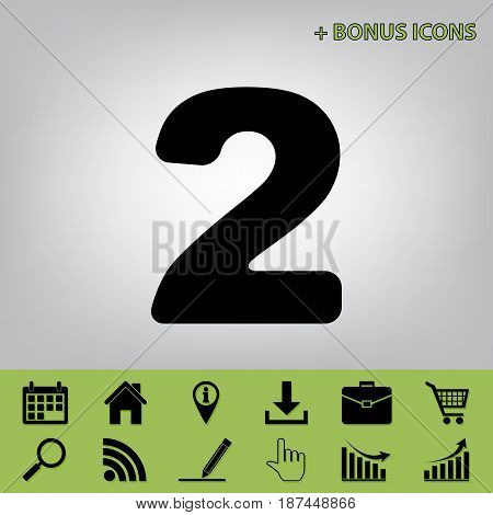 Number 2 sign design template elements. Vector. Black icon at gray background with bonus icons at celery ones
