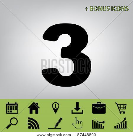 Number 3 sign design template element. Vector. Black icon at gray background with bonus icons at celery ones
