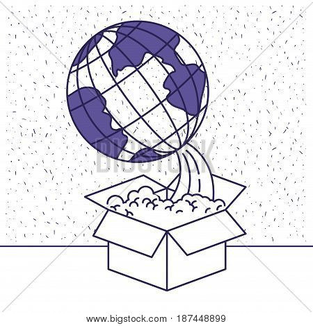 white background with blue silhouette of earth globe coming out of the box vector illustration