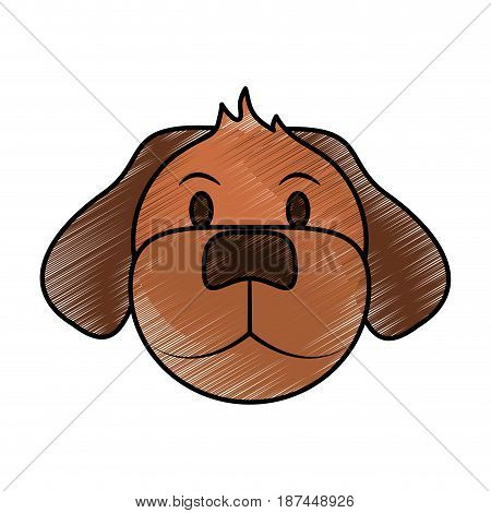 color pencil cartoon front view face dog animal vector illustration