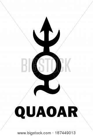 Astrology Alphabet: QUAOAR (Transneptune), massive planetoid. Hieroglyphics character sign (single symbol).