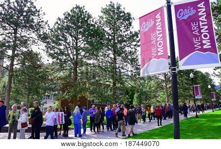 MISSOULA, MONTANA, USA - May 20, 2017: Long line of supporters wait to enter a rally for US House candidate Rob Quist at the University of Montana