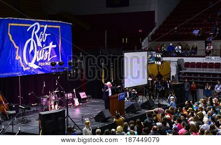 MISSOULA, MONTANA, USA - May 20, 2017: US Senator Bernie Sanders speaks to a crowd of 4000 supporters of US House candidate Rob Quist at the Unversity of Montana