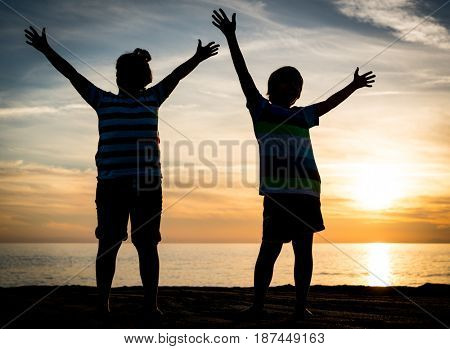 Two happy brothers enjoying beach together