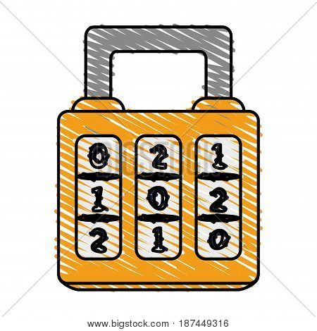 color crayon stripe cartoon combination padlock with square body vector illustration