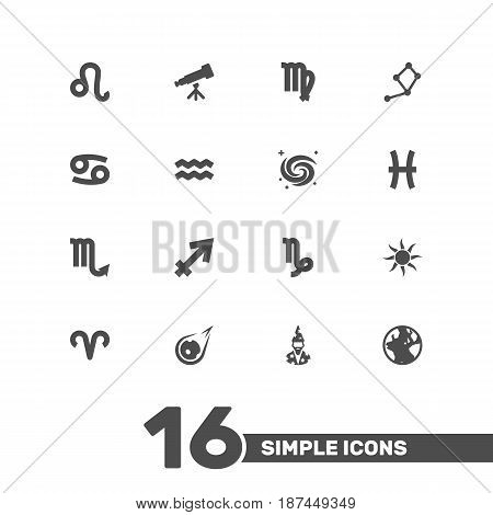 Set Of 16 Horoscope Icons Set.Collection Of Horoscope, Space, Solar And Other Elements.