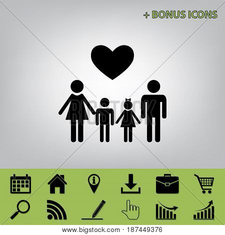 Family symbol with heart. Husband and wife are kept children's hands. Vector. Black icon at gray background with bonus icons at celery ones