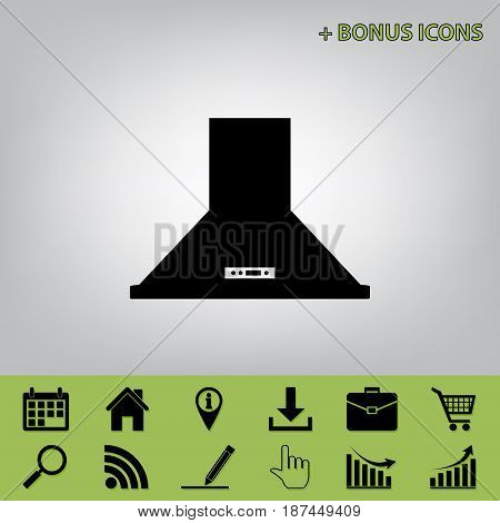 Exhaust hood. Kitchen ventilation sign. Vector. Black icon at gray background with bonus icons at celery ones