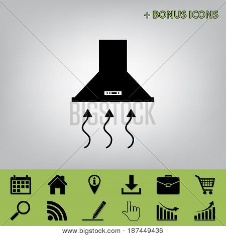 Exhaust hood. Range hood. Kitchen ventilation sign. Vector. Black icon at gray background with bonus icons at celery ones