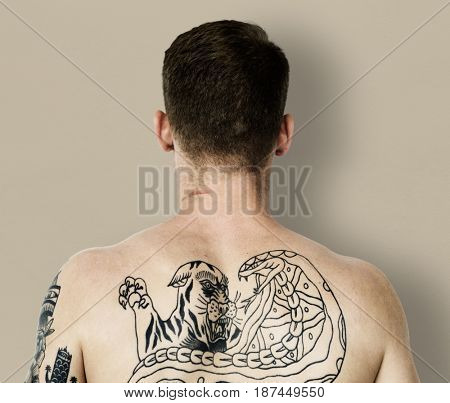 Man close up back view photoshoot