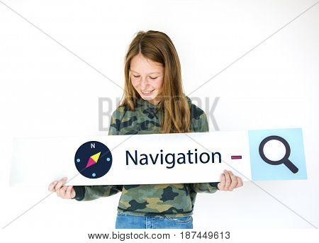 Illustration of direction navigation compass