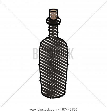 color crayon stripe cartoon spa bottle with cork vector illustration