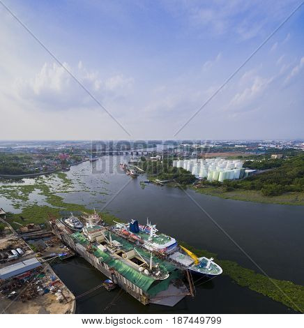 aerial view of mea nam ta chin river in samuthsakorn province outskirt of bangkok thailand capital
