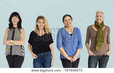 Diversity Women Set Gesture Standing Together Studio Isolated