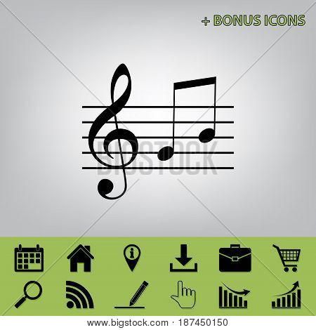 Music violin clef sign. G-clef and notes G, H. Vector. Black icon at gray background with bonus icons at celery ones