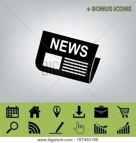 Newspaper sign. Vector. Black icon at gray background with bonus icons at celery ones