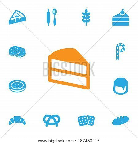 Set Of 13 Oven Icons Set.Collection Of Dessert, Custard, Loaf And Other Elements.