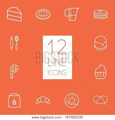 Set Of 12  Outline Icons Set.Collection Of Candy Cane, Cake, Cupcake Elements.