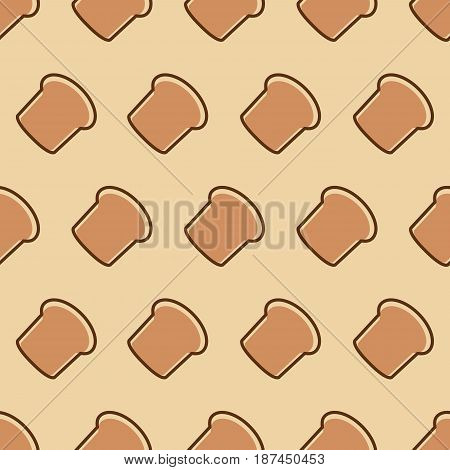 Bakery seamless pattern consisting of bread brawn color line style on yellow background for food market, loaf store, cafe, cupcake firm, coffee shop. Vector Illustration
