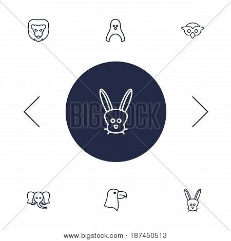 Set Of 6 Beast Outline Icons Set.Collection Of Rabbit, Lion, Eagle And Other Elements.