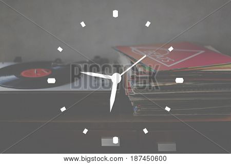 Music Clock Time Badge Banner