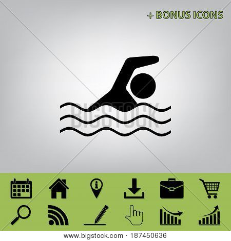 Swimming water sport sign. Vector. Black icon at gray background with bonus icons at celery ones