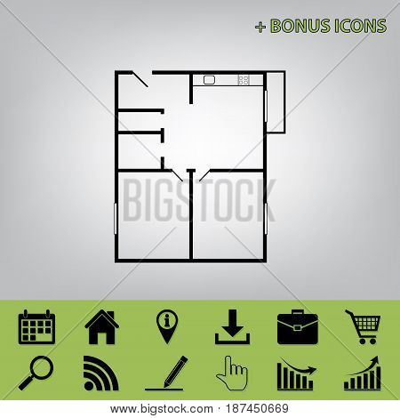 Apartment house floor plans. Vector. Black icon at gray background with bonus icons at celery ones