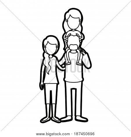 caricature thick contour faceless family with mother and father with moustache and girl on his back vector illustration