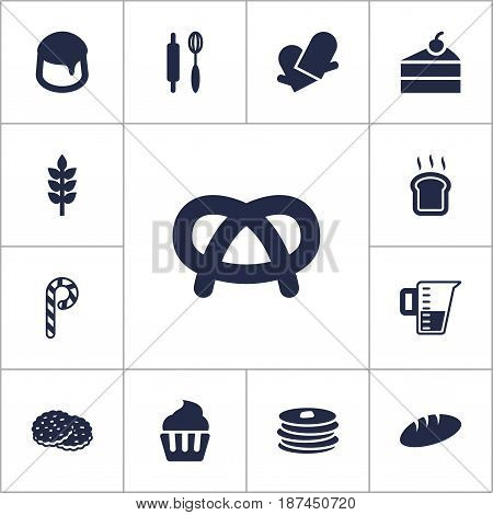 Set Of 13 Cook Icons Set.Collection Of Custard, Measurement, Snack And Other Elements.