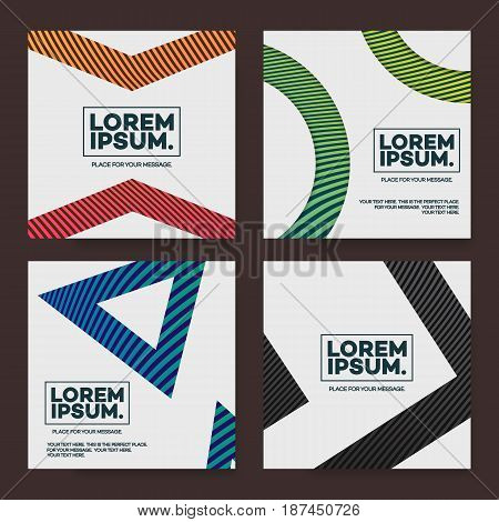 Cover design template set square shape with abstract lines modern different color gradient style for catalog, poster, presentation, flyer, brochure, book, magazine etc. Vector Illustration