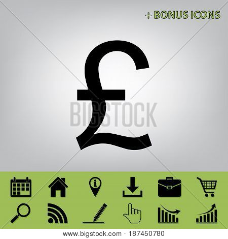 Turkish lira sign. Vector. Black icon at gray background with bonus icons at celery ones